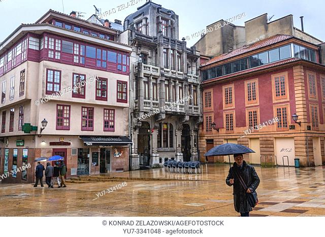 Plaza de la Constitucion - Constitution square oin the Old Town of Oviedo in Asturias region, Spain