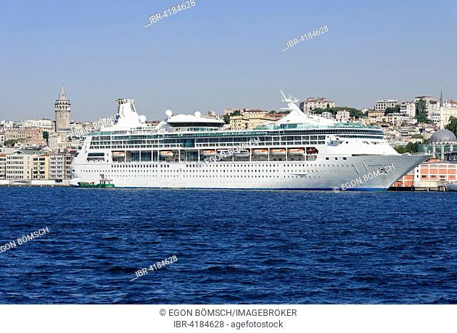 Cruise ship Rhapsody of the Seas, built in 1996, 297m long, 1998 passengers, at the quay of Karaköy, Istanbul Modern, Beyoglu, Istanbul, Turkey