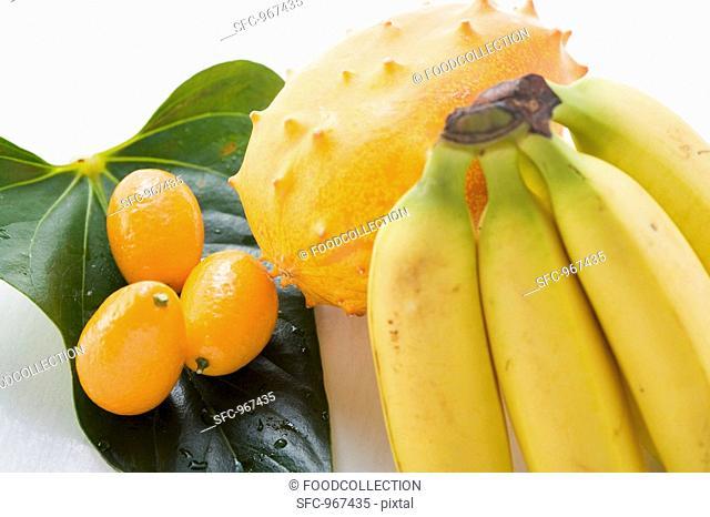 Bananas, kiwano and kumquats