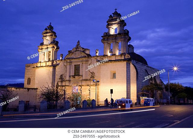 Iglesia de la Recoleta- Recoleta Church by night, a temple of baroque style constructed between 1668 and 1678, Cajamarca, Northern Highlands, Peru