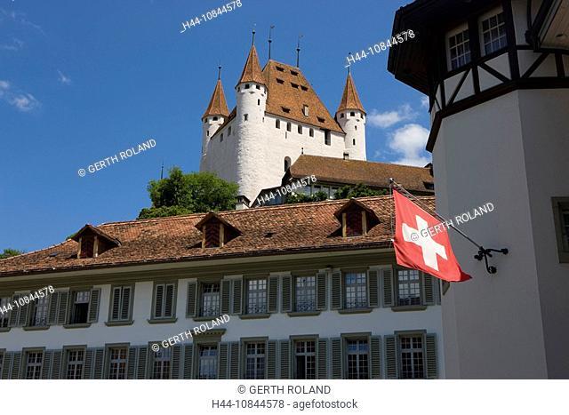 Switzerland, Europe, Thun city, castle, Architecture, Canton Bern, Berne, Summer, town, Thun, Old town, Rathausplatz