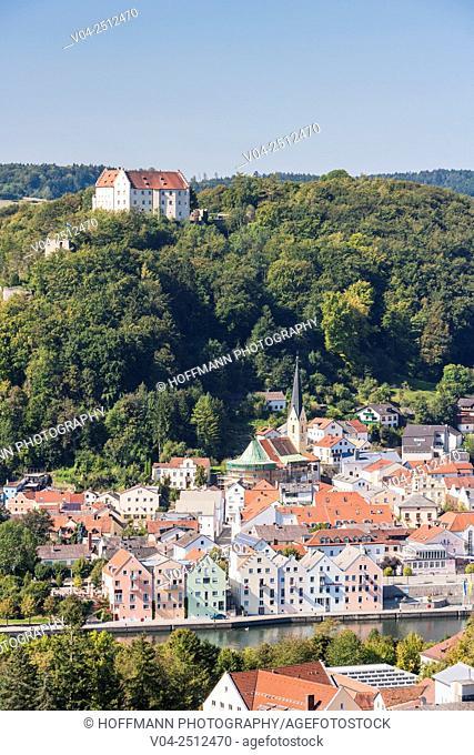 Riedenburg village with Rosenburg castle, Bavaria, Germany, Europe