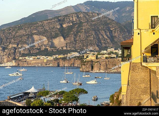 Sorrento Amalfi coast in Italy sunset view of the Tyrrhenian Sea and coast