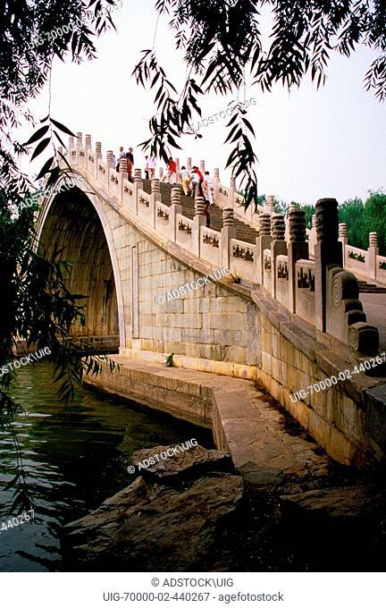 Summer Palace's Jade Belt Bridge Yudai Qiao over inlet of Yu River to Kunming Lake