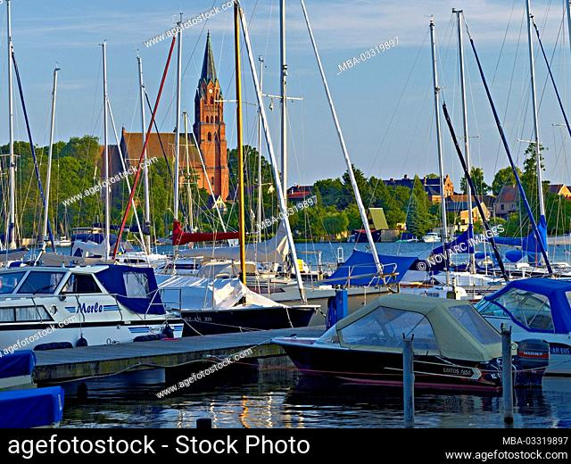 "Boat harbour with Marienkirche, R""bel, Mecklenburg-Western Pomerania, Germany"