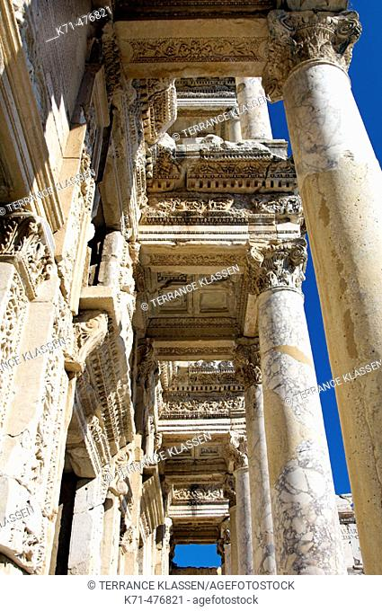 Detail of the exterior of the Celsus Library in ephsus, Turkey