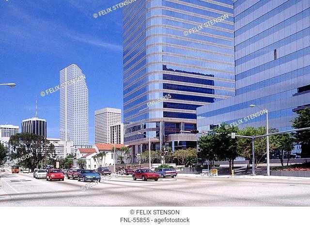 Traffic on road in city, Brickell Avenue, Miami, Florida, USA