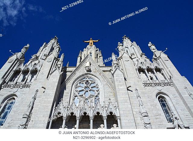 The Sacred Heart of Jesus Church main façade. Tibidabo Mountain, Collserola mountain range, Barcelona, Catalonia, Spain, Europe