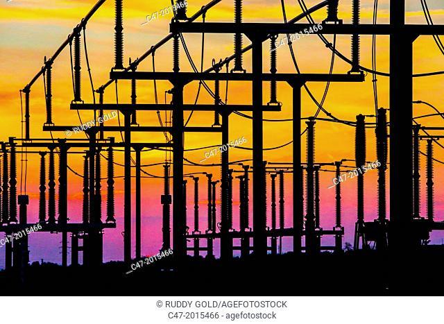 Electric Substation of Pujalt at sunset, eolic park of Pujalt around Sant Marti Sesgueioles, Anoia region, Barcelona province, Catalonia, Spain