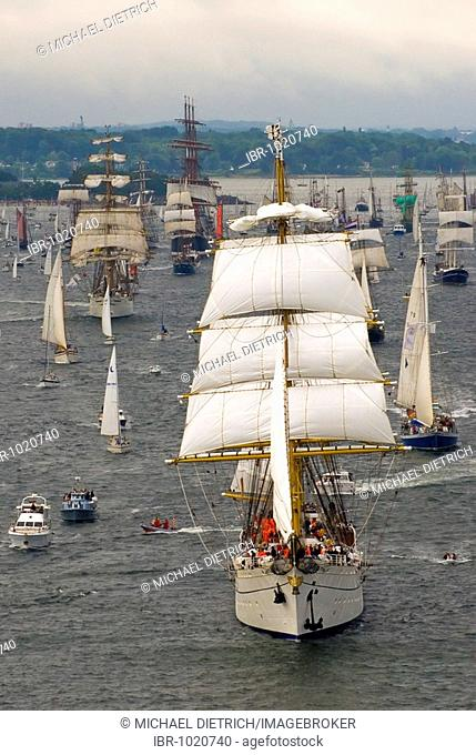 Parade of windjammers at the Kieler Woche 2008, Kiel Week 2008 with the sail training ship Gorch Fock of the German navy as the command ship and other...