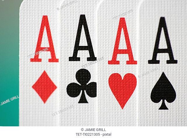 Extreme closeup of four aces