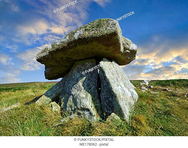 Chun or Chûn, Quoit is a megalithic burial dolmen from the Neolithic period, circa 2400 BC, near Morvah on the Chun Nature Reserve, Penwith peninsula, Cornwall