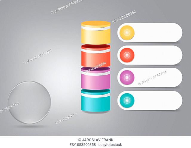 Infographic showing 3d glass ball ready for your text and four colorful rollers with white numbered labels ready for your text