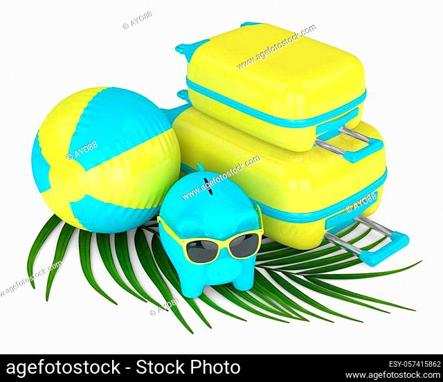 3d render of piggy bank with suitcase and beach ball over white background