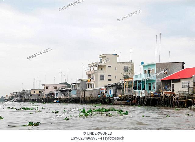 Editorial Vietnam, Mekong river delta.19/10/2014. Boat on traditional floating market