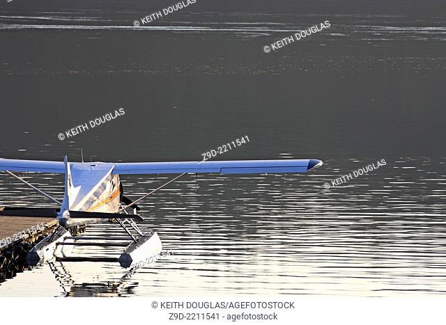DeHavilland Beaver floatplane tied up at dock, Seal Cove, Prince Rupert, BC