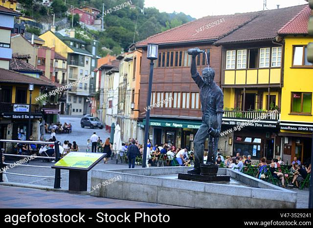 Cider monument in the Requejo neighborhood, Mieres, Asturias, Spain