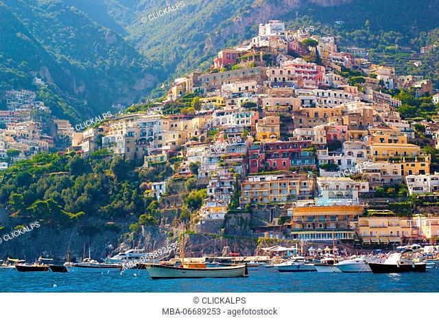 Positano, Campania, Salerno, beautiful Town on the Amalfi Coast