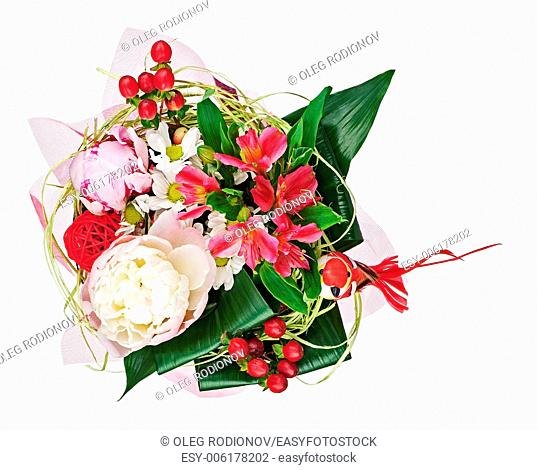 Colorful flower bouquet isolated on white background. Closeup