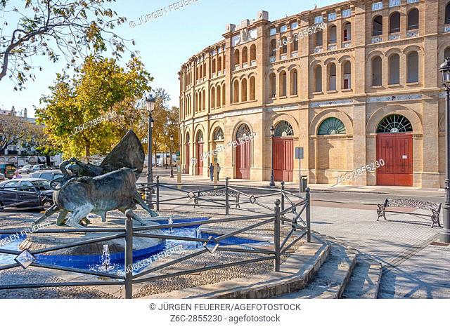 gates to the bullring of El Puerto de Santa Maria, town of wine industry and sherry, province of Cádiz, Spain