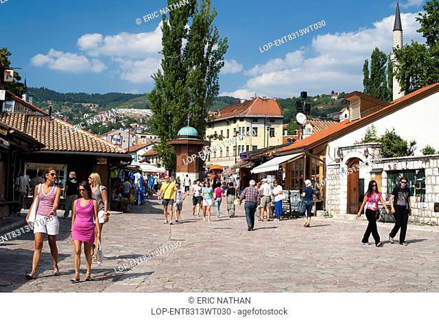 Bosnia and Herzegovina, Sarajevo Canton, Sarajevo. The Bascarsija bazaar in Sarajevo