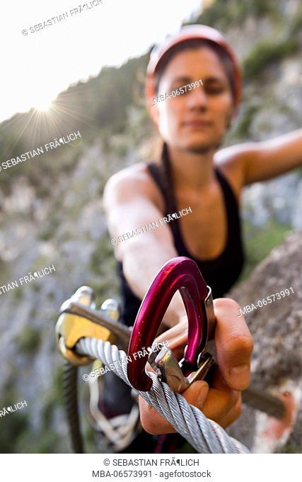 Via ferrata walker at the Dalfaz via ferrata at the Achensee in Tyrol