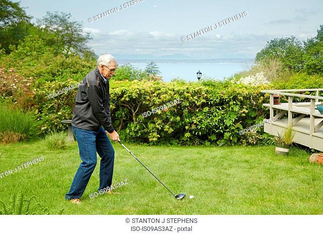 Portrait of senior man, practising golf swing