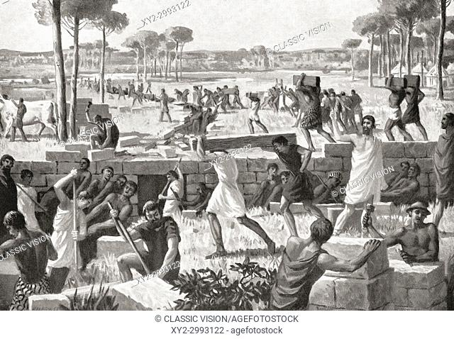 Draining the site of ancient Rome. From Hutchinson's History of the Nations, published 1915