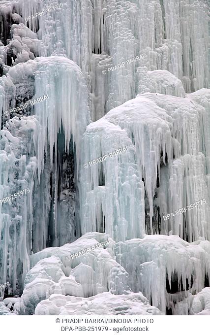 Frozen waterfall, chadar trek, ladakh, jammu and kashmir, india, asia