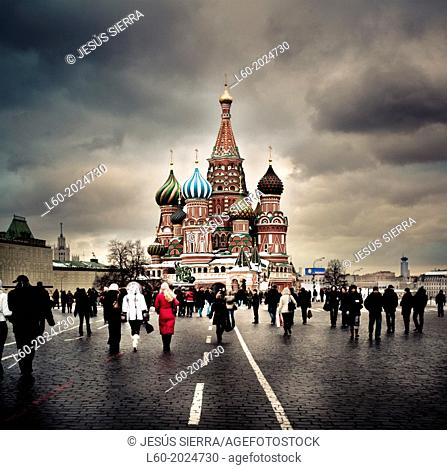 View of the Orthodox Cathedral of St Basil in Red Square in Moscow, Russia