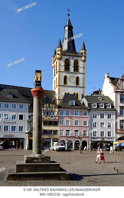Market church Saint Gangolf from Hauptmarkt, main square, Trier, Rhineland-Palatinate, Germany, Europe