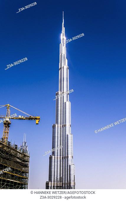 Construction site around the Burj Khalifa in Dubai, highest building of the world