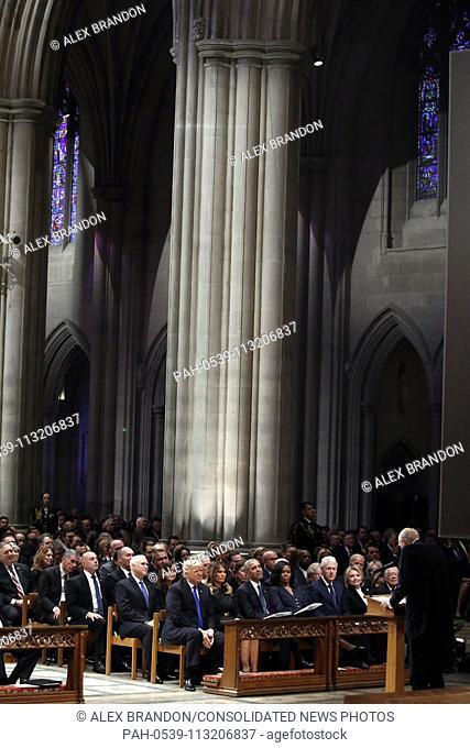 From left, President Donald Trump, first lady Melania Trump, former President Barack Obama, Michelle Obama, former President Bill Clinton