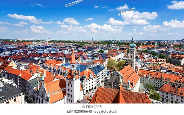 Munich city center and old town skyline view to old town, roofs and spires