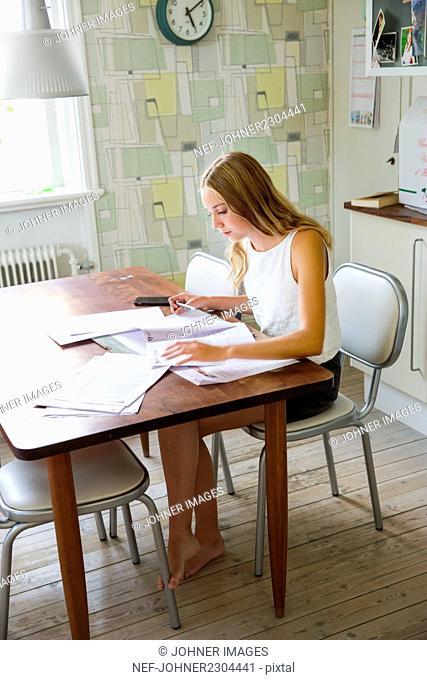 Girl doing homerwork