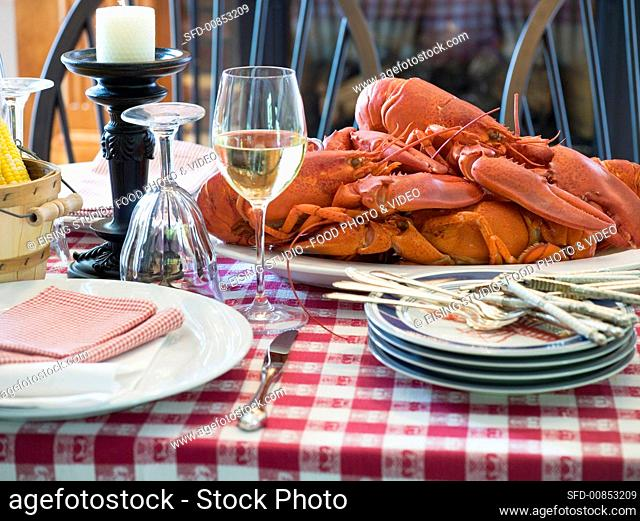 Laid table with lobster (USA)