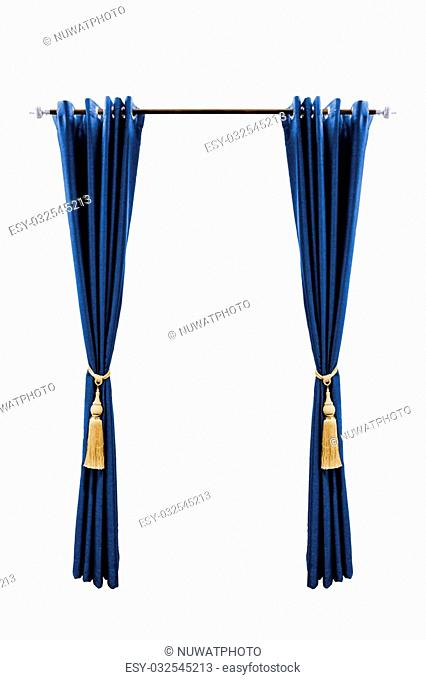 Blue curtain with golden luxury tassels isolated on white