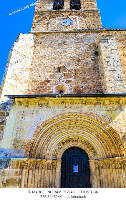 Portal and bell tower. Santa María la Mayor church. Escalada. Valle de Sedano, region of Páramos, Burgos, Castilla y Leon, Spain, Europe