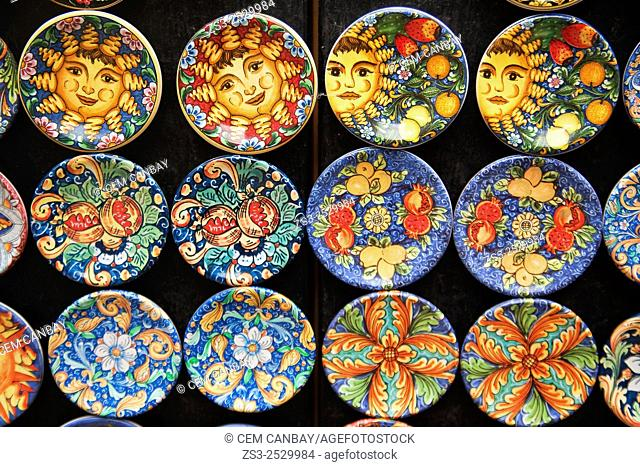 Ceramic plates for sale at the shop, Taormina, Sicily, Italy, Europe