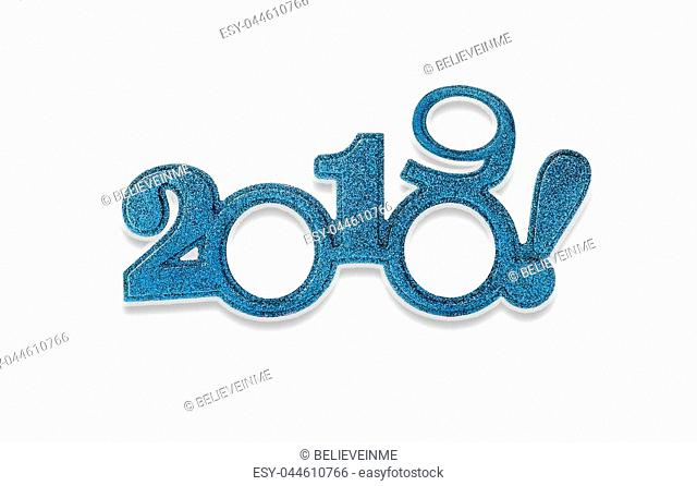 Two thousand and nineteen. Happy New 2019 year in blue tones isolated on white background