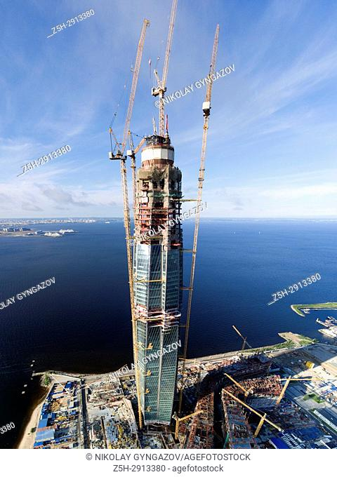 "The construction of the skyscraper office of """"Gazprom"""" in St. Petersburg. Russia. A bird's eye view"