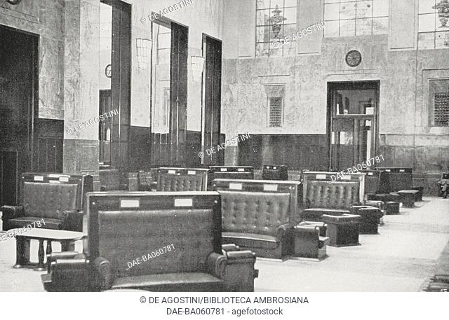 Waiting room for first and second class passengers only, inside Milan Central railway station, Italy, from L'Illustrazione Italiana, year LVIII, n 27, July 5