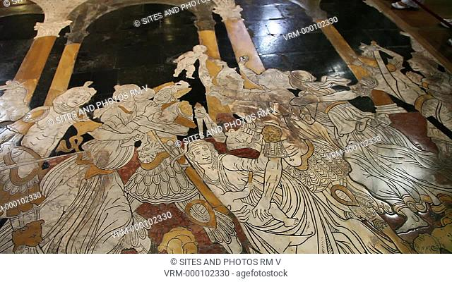 Interior, PAN, CU, HA, view of the marble floor. Seen is the Slaughter of the Innocents scene. The inlaid marble mosaic floor