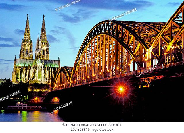 Cathedral and Hohenzollern Bridge at night. Cologne. Germany