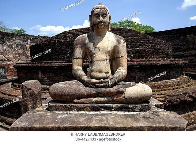 Buddha statue in Vatadaga, terrace, Tooth Relic, Dalada Maluwa, ancient royal city, Sacred City, Polonnaruwa, North Central Province, Sri Lanka