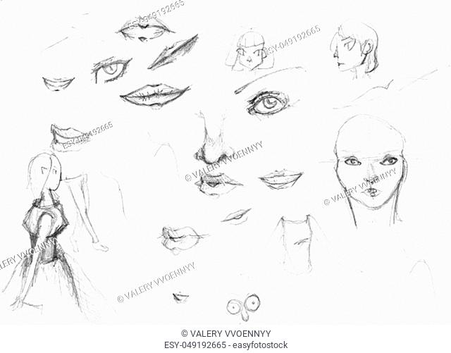 sketches of girls and detail of faces hand-drawn by black pencil on white paper
