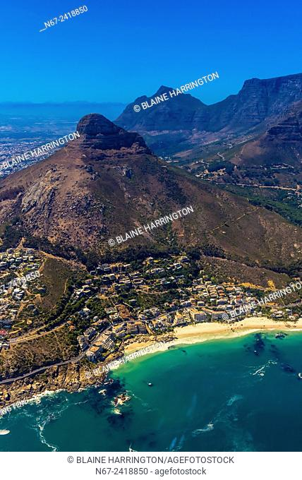 Aerial view of Cape Town with Lion's Head and Table Mountain in background, South Africa