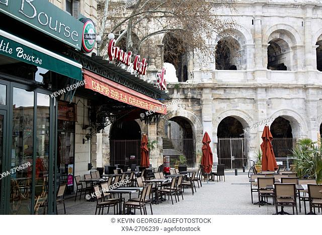 Roman Amphitheatre and Grand Bourse Cafe, Nimes, France