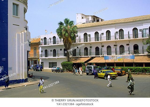 Generale de Gaulle street and Hotel de la Poste, Ile de Saint Louis , Senegal