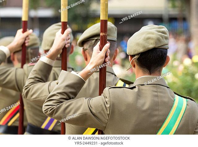 Spanish armed forces personnel at Military parade in public park in Las Palmas, Gran Canaria, Canary Islands, Spain